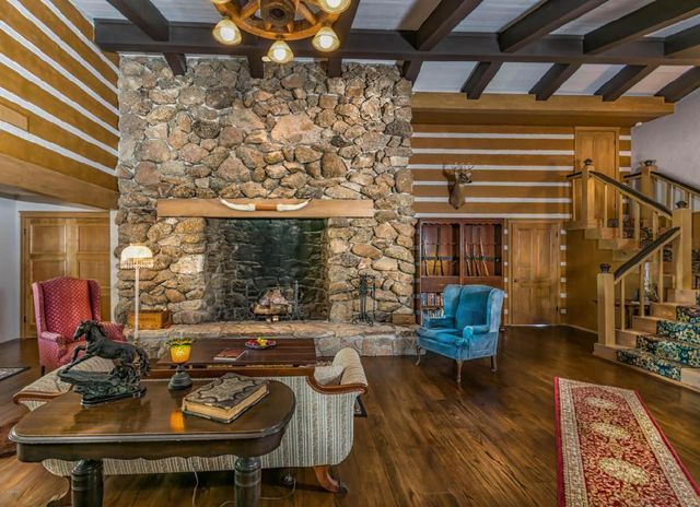 Great room and stone fireplace