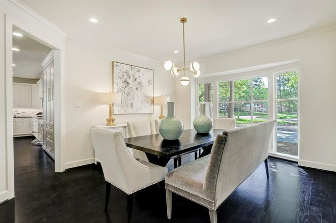 The refined decor brings the dining room into this decade.