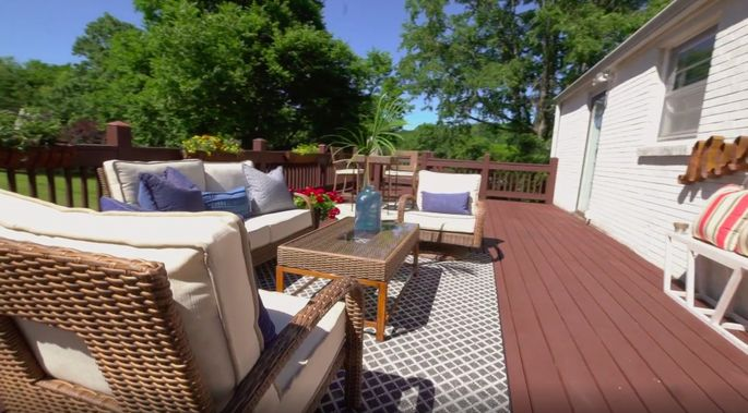 The homeowners can truly enjoy the outdoors with this deck.