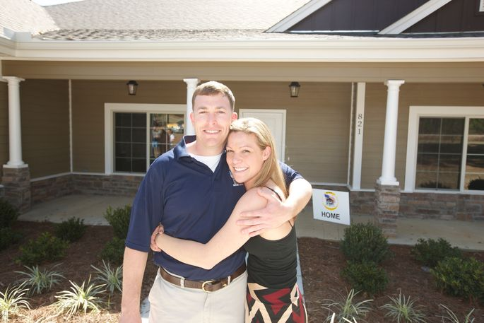 Seriously injured veteran Luke Murphy was given a new home designed to accommodate his disabilities from Homes for Our Troops. He is pictured with his wife, Stephanie.