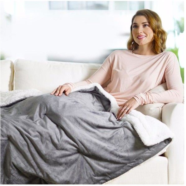 This heated and weighted blanket is the first combo throw.