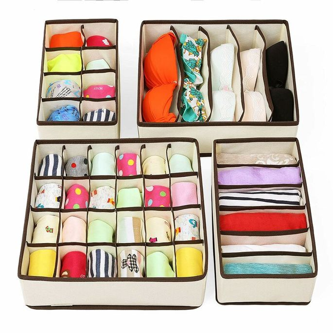 4-piece foldable drawer dividers fabric box set
