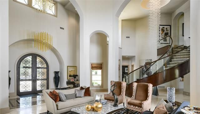 Living room and curved staircase