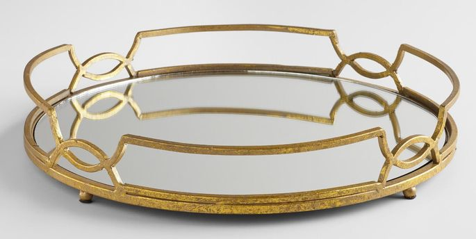 This gold tray gives off a chic, slightly gothic vibe.