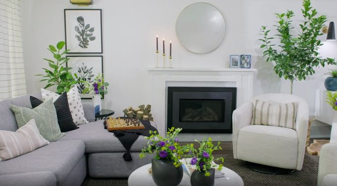 This modern fireplace looks great in the space.