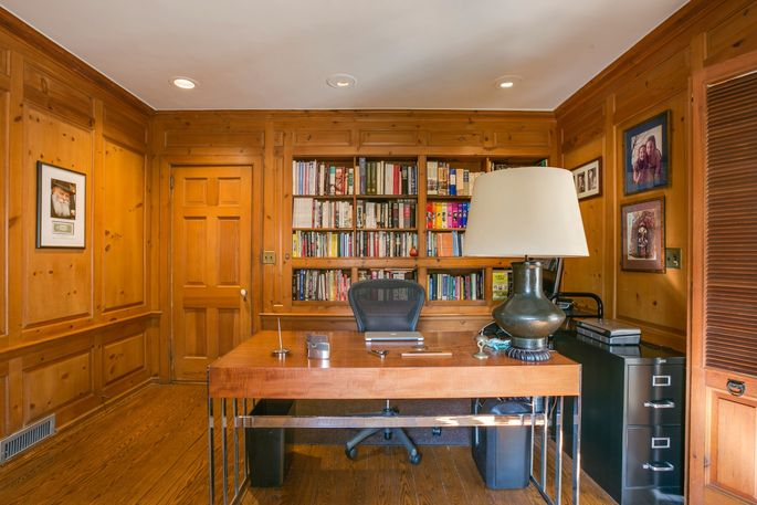 Wood-paneled office