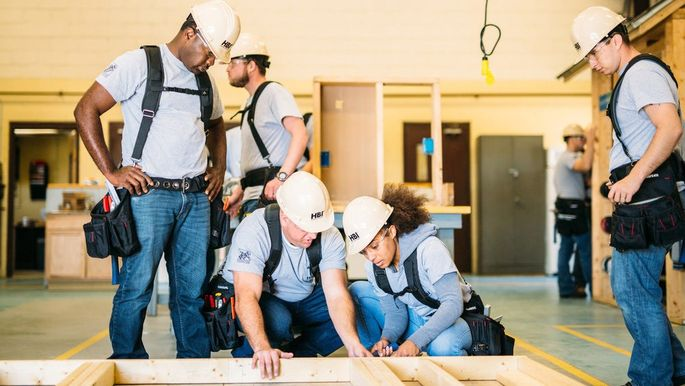 Soldiers leaving the Army are trained to be construction workers through a program at Fort Stewart, GA, funded by the Home Depot Foundation.