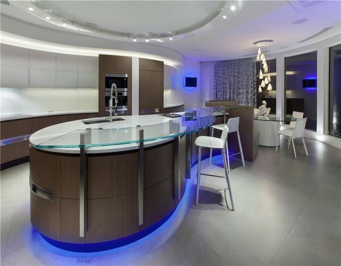 Custom kitchen with breakfast bar