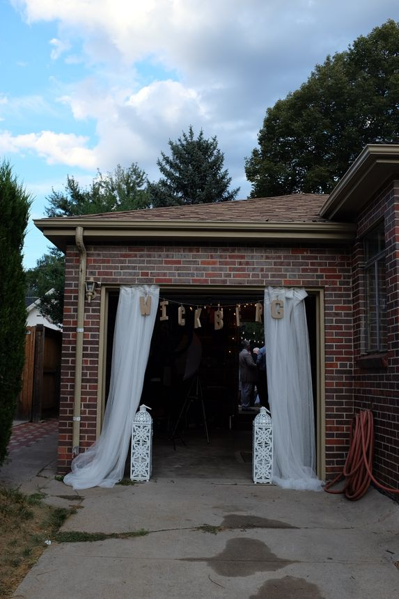 The Wickbergs' garage served as the entrance to their backyard weddingparty.