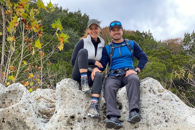 Jess Glazer and Mike DeRose hiking outside of Austin, Texas, in November.