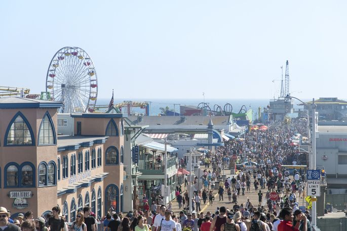 The amusement park on the Santa Monica Pier is a huge draw for tourists.