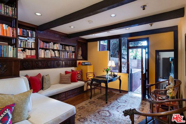 Library in Heather Graham house in LA