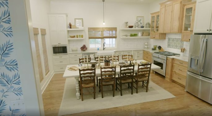 Who could miss a kitchen island with a table like this?