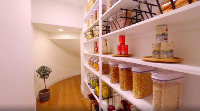 The Scott brothers made lots of room in this pantry.