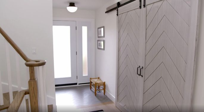 Barn doors are still hot! These doors are a stylish way to hide that bike room.