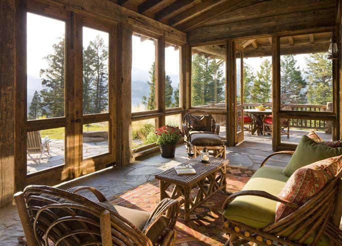 Glass-enclosed sunroom