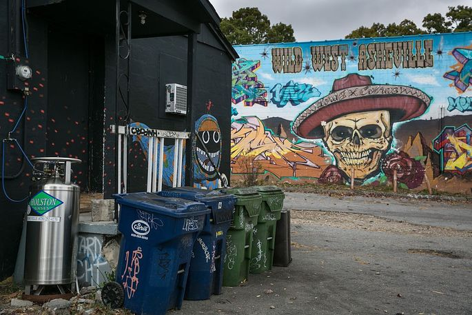 Colorful murals enliven the quirky West Asheville neighborhood.