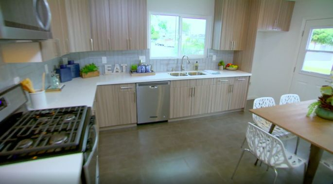 This kitchen used to feel closed off, but now it looks open and welcoming.