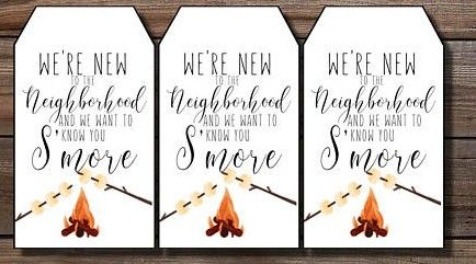 s'mores-themed meet your neighbor gift tags