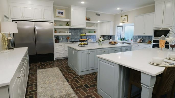 The clients preferred white, but Ben and Erin thought some blue would look great in this kitchen.