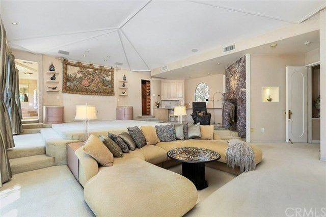 The custom sofa in the master suite