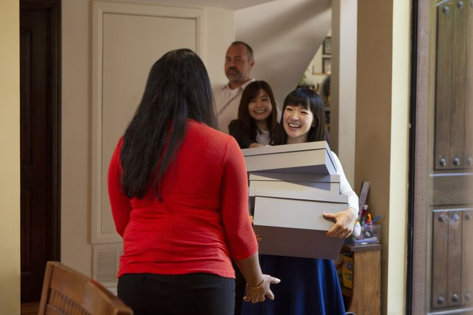 Kondo suggests organizing items in shallow boxes or drawers so all the contents can be seen when opened.