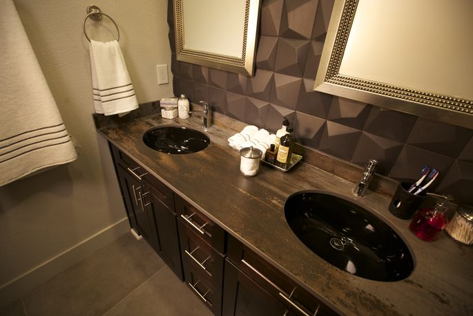 A double vanity in a tiny house? Only Zack Giffin could fit that in.