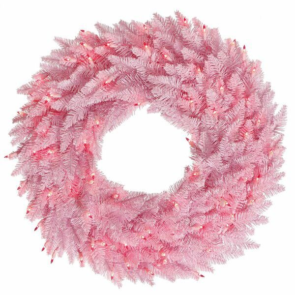This pink wreath is safe for use outdoors and comes on a wire frame for easy hanging.