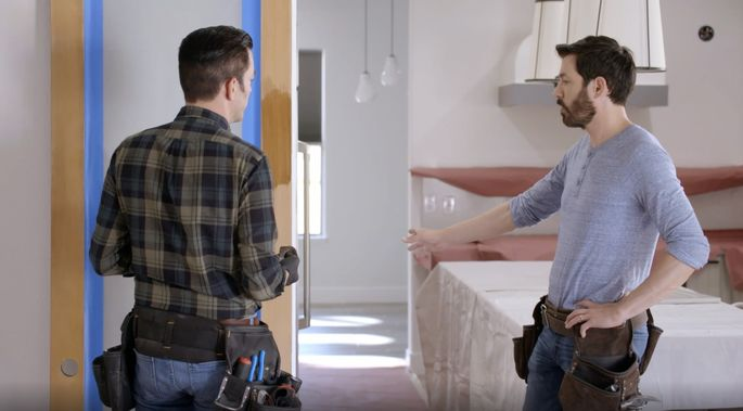 Jonathan Scott wanted to stain this door to match the mantel.