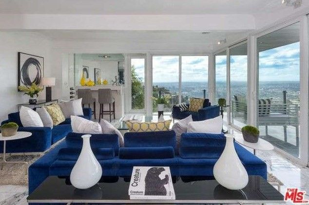 The living room was staged by designer Meredith Baer.