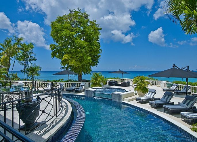 The pool of the villa looking out to the Caribbean Sea