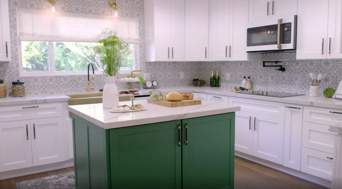 This green island brings needed color to the kitchen.