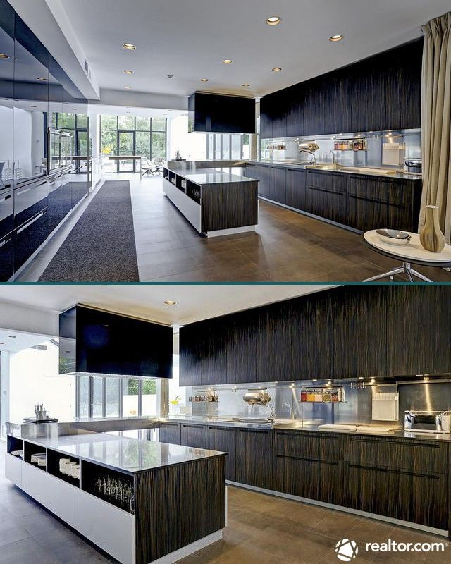 This kitchen has two of almost every appliance, although they're practically invisible in the sleek, modern design.