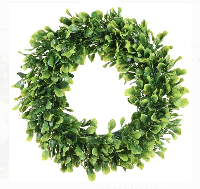 This wreath is made in a beautiful Christmas (and springtime) green.