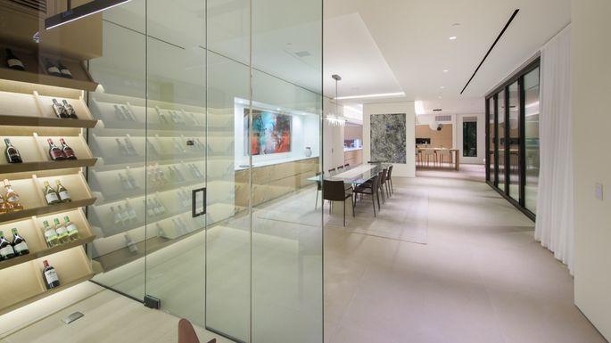 Glimpse of the 500-bottle wine cellar