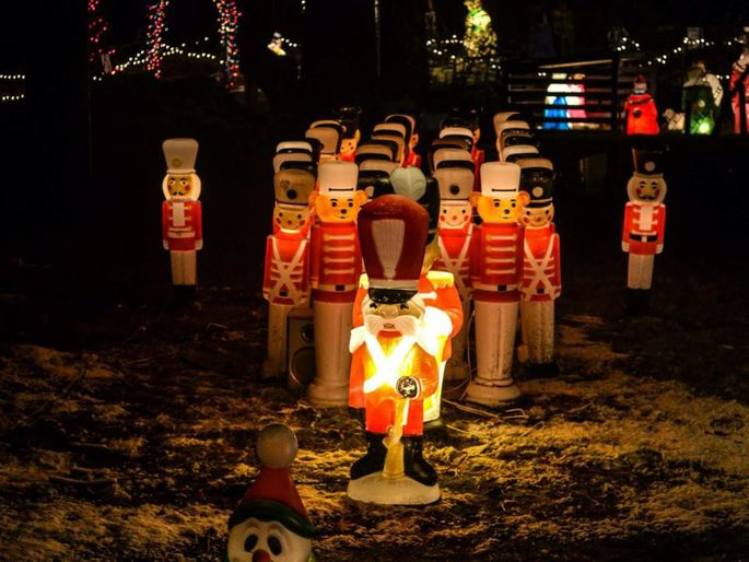 A nutcracker brigade takes over the lawn of Conway residence in Coventry, RI.