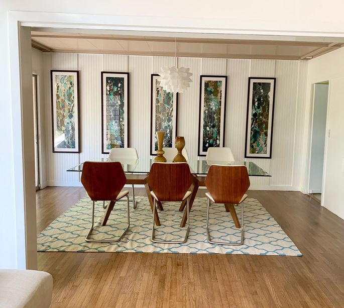 "The dining room inside the Los Angeles home used for exterior shots on ""The Golden Girls"""