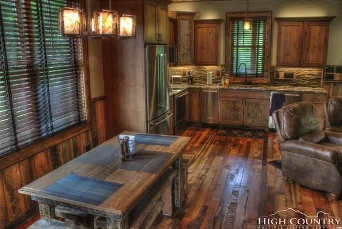 Open kitchen and dining spaces