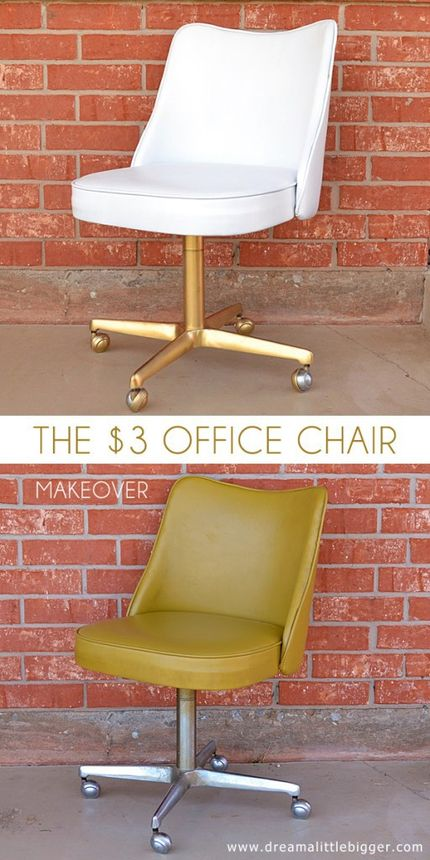 This retro desk chair gets a newlook thanks to a fresh coatof spray paint.