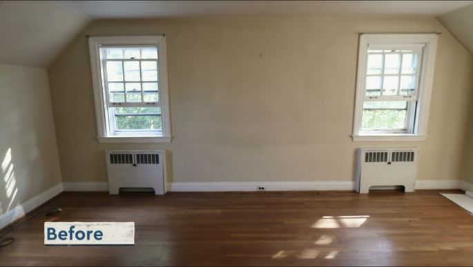 This bedroom had a hidden secret: a high ceiling.