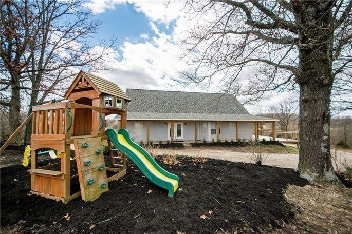 Backyard with play equipment