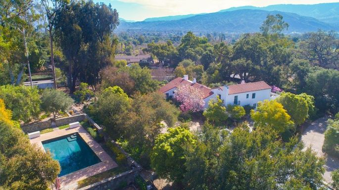 Overhead view of the Spanish Colonial estate