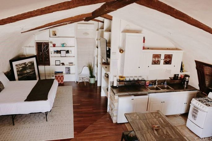 Living space with faux beams