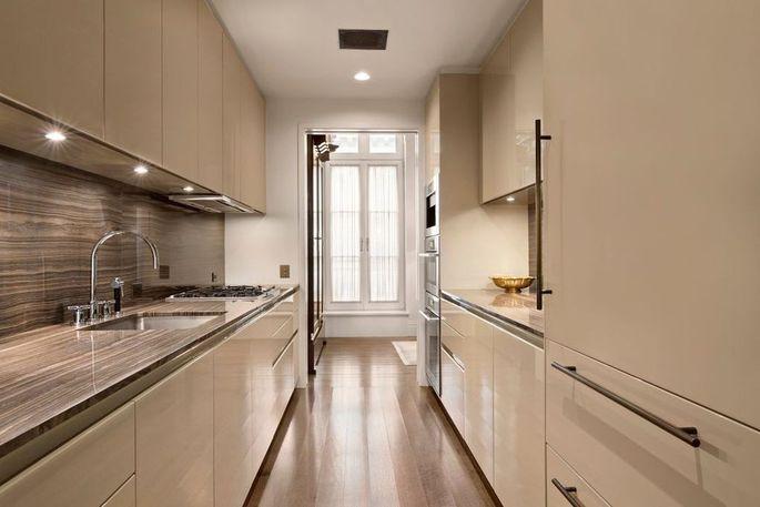 Sleek galley kitchen