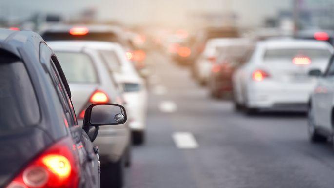Traffic jam at road.Background blurred