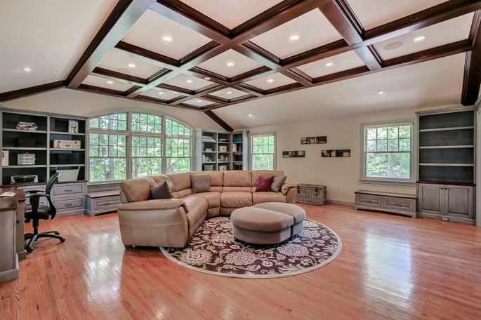 The coffered ceiling