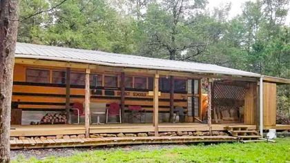 In the Arkansas Woods, a School Bus Converted Into a Wow-Worthy Tiny Home
