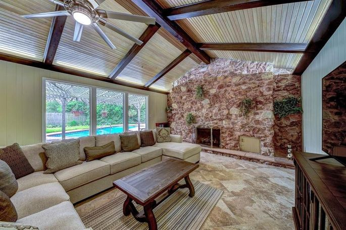 Great room with beamed ceiling