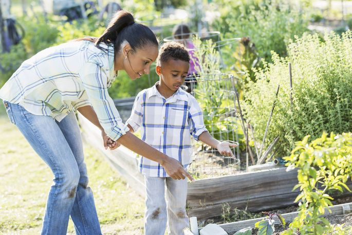 Mother and son at community garden