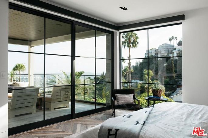Master bedroom with views of the Hollywood Hills